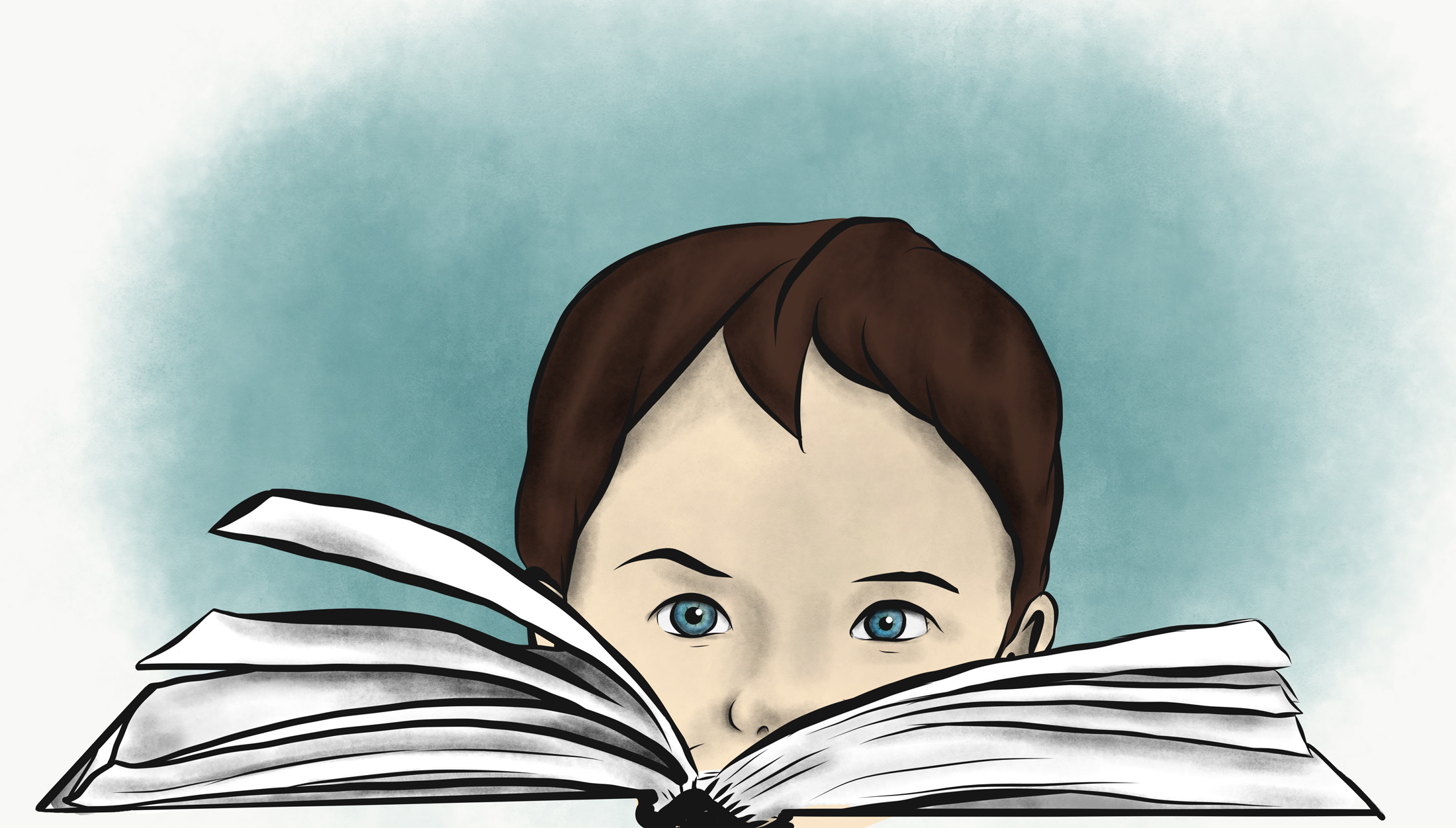 boy with a book illustration